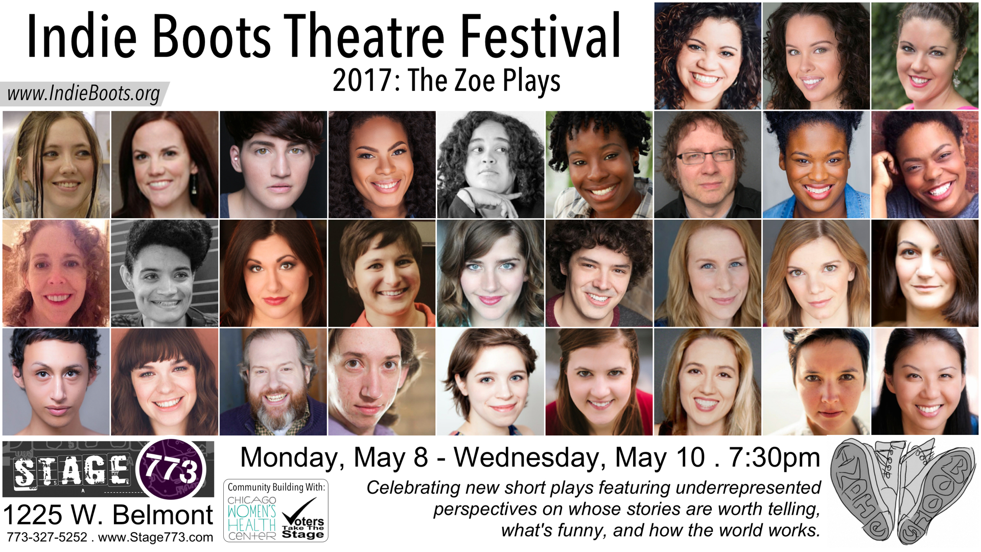 Indie Boots Theatre Festival 2017: The Zoe Plays postcard with actor headshots