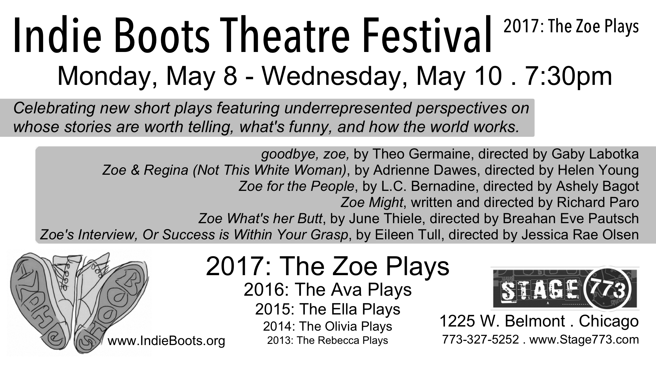 Indie Boots Theatre Festival 2017: The Zoe Plays postcard listing plays, writers, and directors